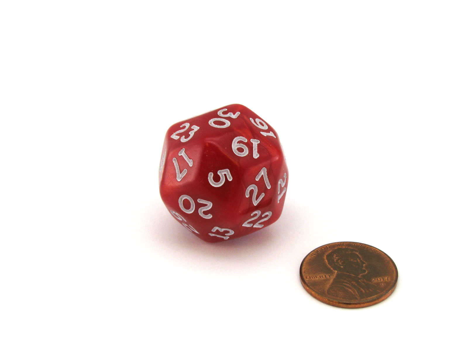 Pearlescent Triantakohedron D30 30 Sided 25mm Chessex Dice - Red with White