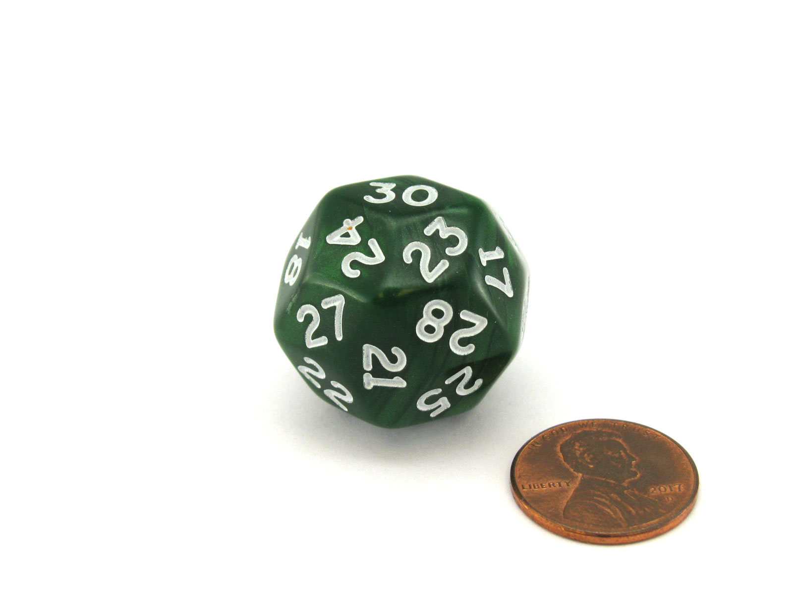Pearlescent Triantakohedron D30 30 Sided 25mm Chessex Dice - Green with White