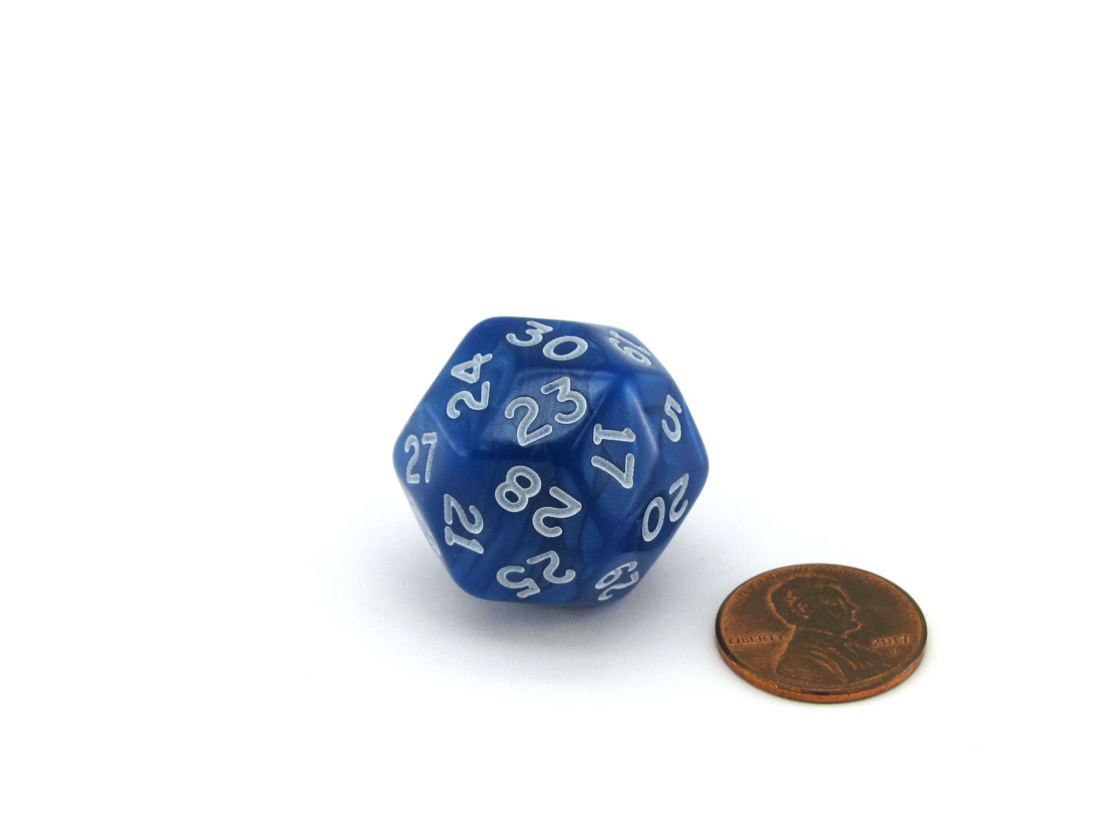 Pearlescent Triantakohedron D30 30 Sided 25mm Chessex Dice - Blue with White