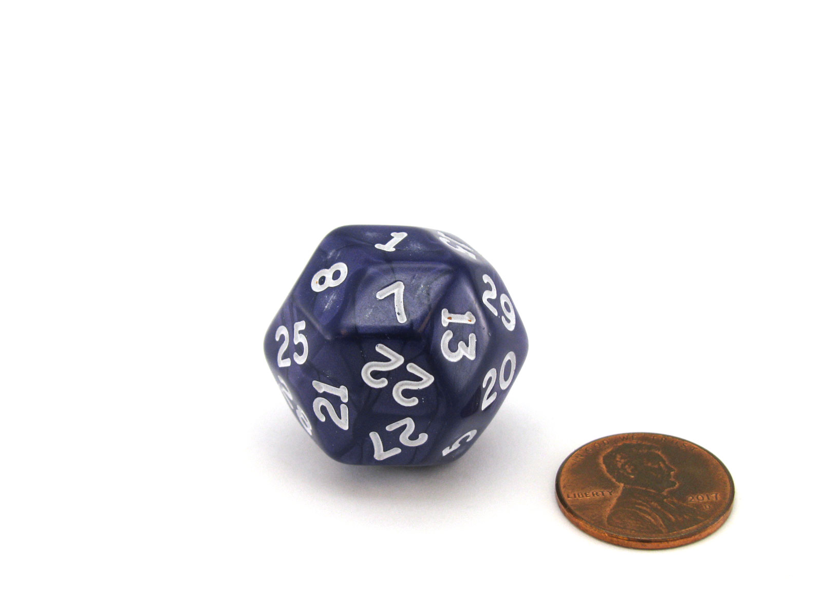 Pearlescent Triantakohedron D30 30 Sided 25mm Chessex Dice - Purple with White