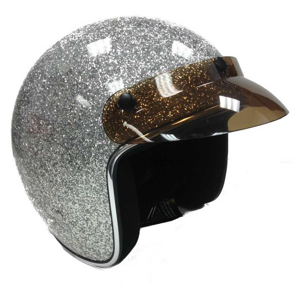 Hci New Retro Light Silver Glitter Open Face Helmet With