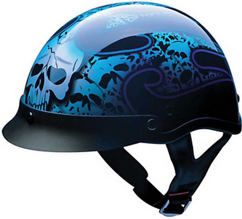 Hci Blue Tribal Skull Pattern Abs Shell Half Motorcycle