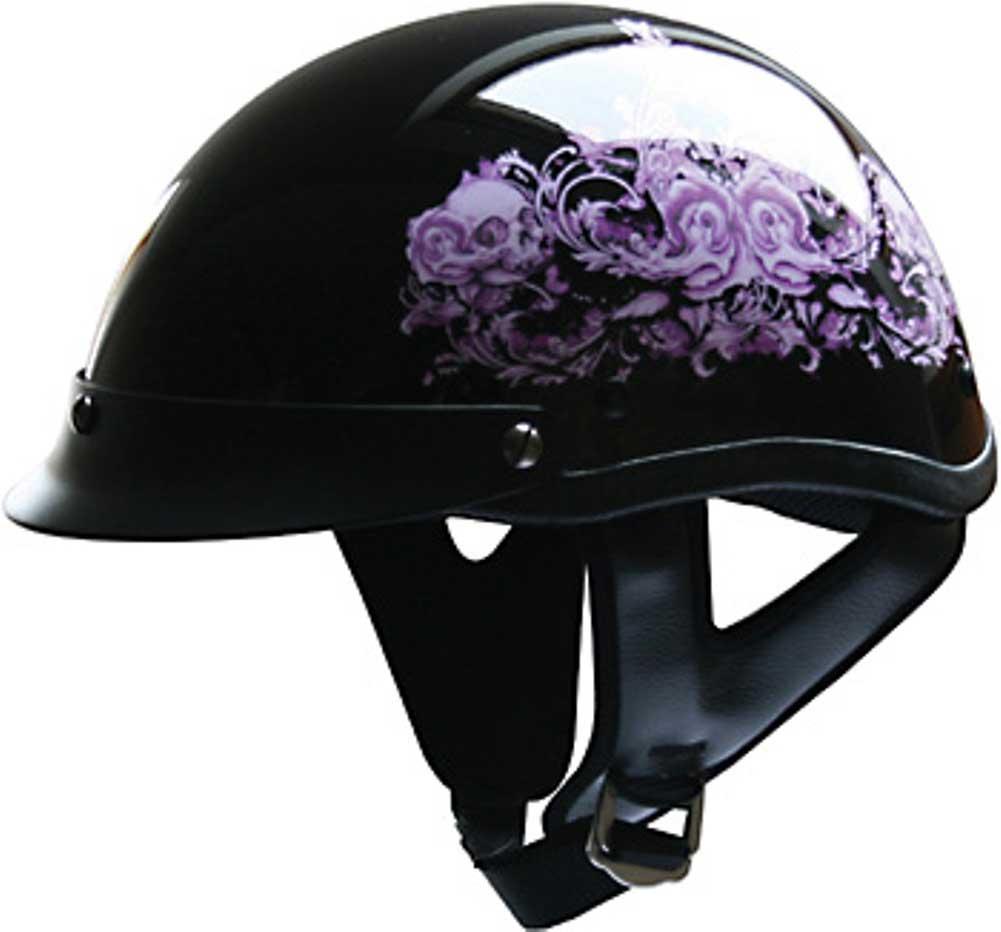ad3b698d HCI Pink Flower Women's Motorcycle Half Helmet with Visor - ABS ...