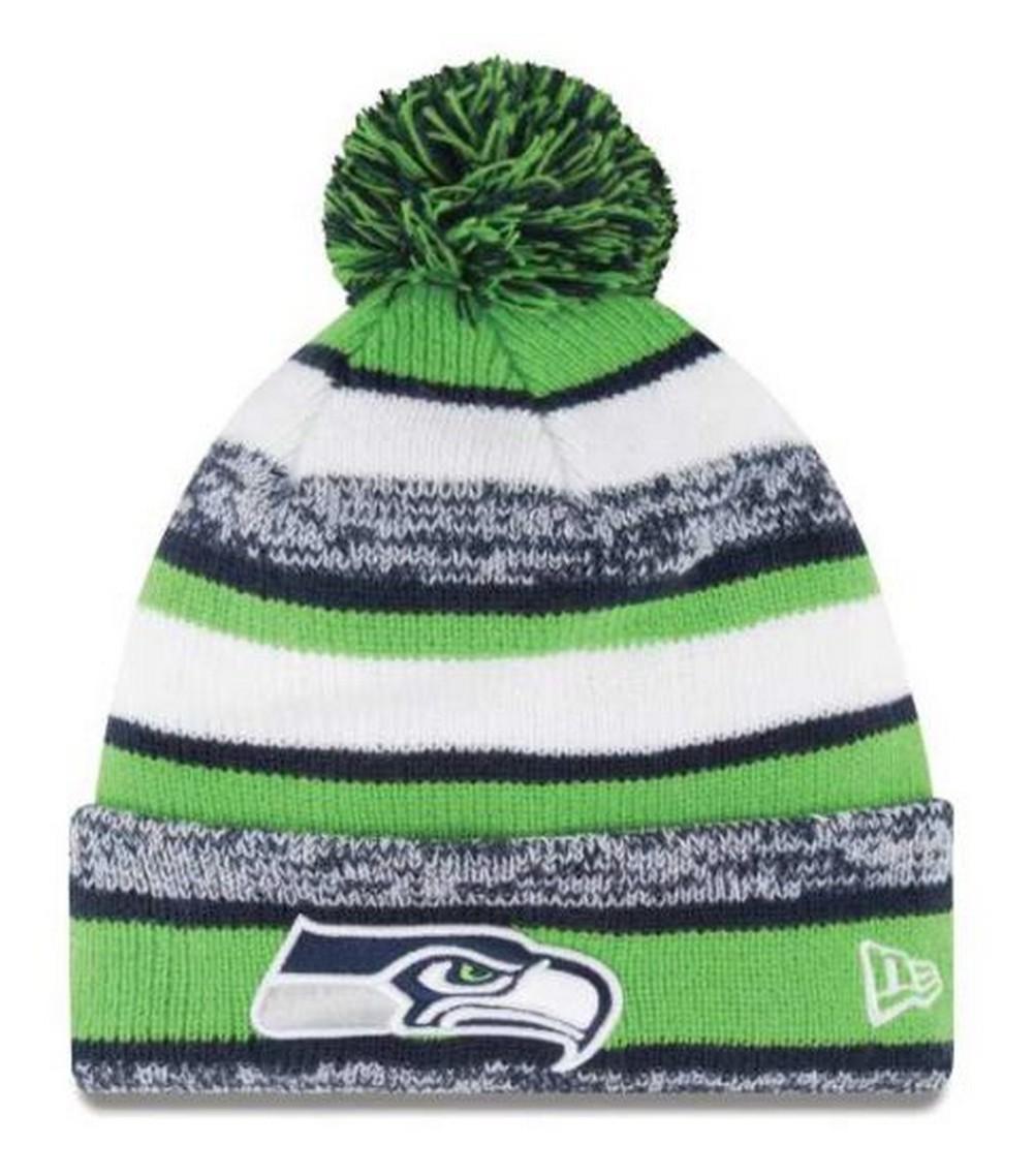 de7c607d8 New Era Seattle SeaHawks NFL Stocking Knit Hat Winter Beanie On Field  11008718