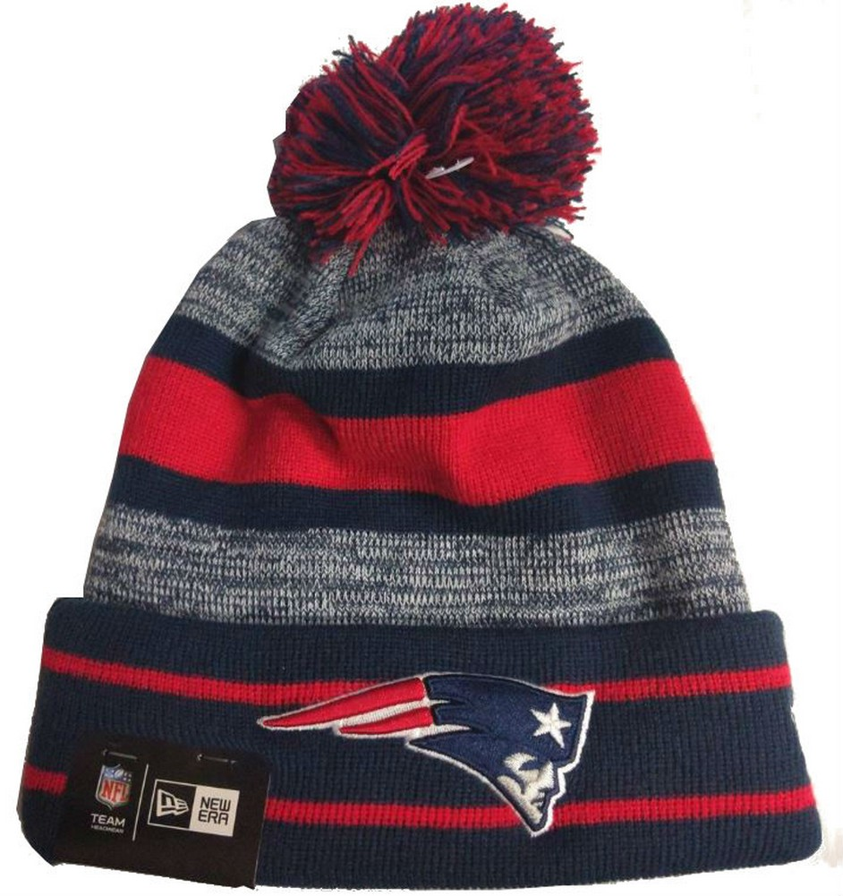 huge selection of b53cb 8eaff New Era 2019 NFL New England Patriots Cuff Pom Knit Hat Beanie Stocking  Winter
