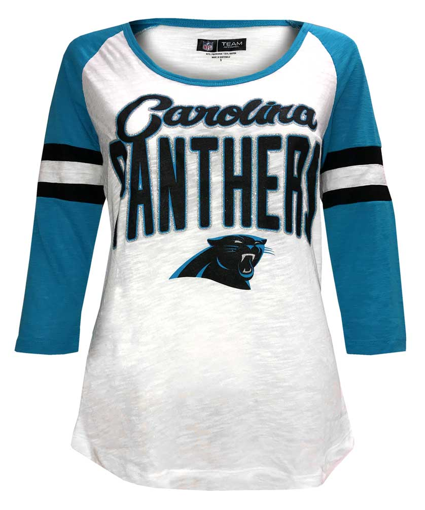 New Era Women s NFL Carolina Panthers Scoop Neck T-Shirt 3 4 Sleeve Tee  78030L 1f8aea5ca