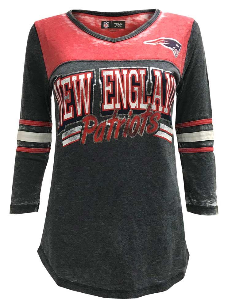 New Era Women s NFL New England Patriots V-Neck T-Shirt 3 4 Sleeve Tee  76001LGD ca375b04f0f
