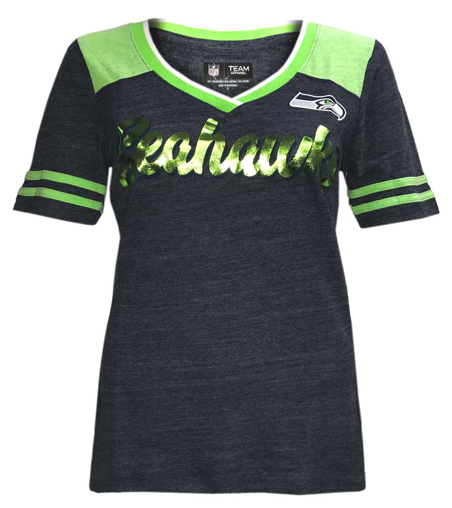 New Era Women s NFL Seattle SeaHawks V-Neck T-Shirt Short Sleeve Tee QNTMLM b5ecebd4e