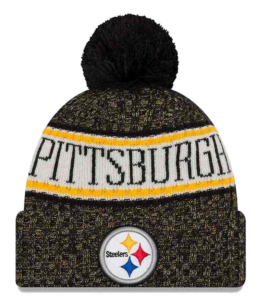 5705759ebd5 New Era 2018 NFL Pittsburgh Steelers Sport Stocking Knit Hat Winter Beanie  Pom