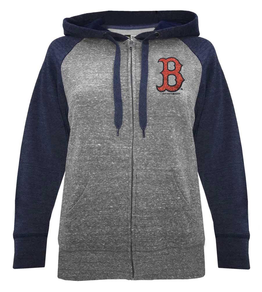lowest price 2c00f 61dad Details about New Era Women MLB Boston Red Sox Glitter Logo Zip Hoodie  Sweatshirt 7773L-HHQN