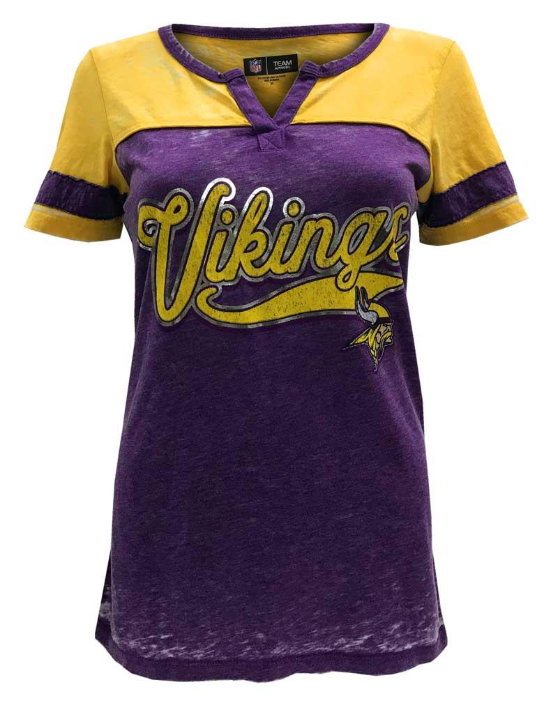 New Era Women's NFL Minnesota Vikings Silver Outline Football Tee T-Shirt V-Neck