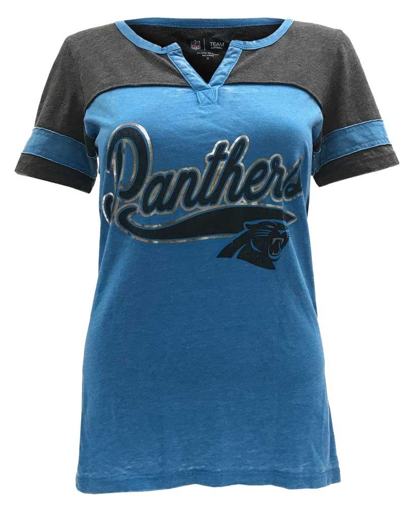 New Era Women's NFL Carolina Panthers Silver Outline Football Tee T-Shirt V-Neck