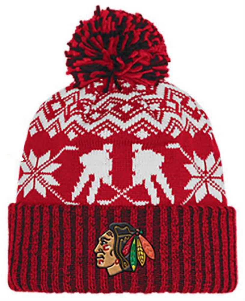6d0502fbfd1 Adidas Men s NHL Chicago Blackhawks Stocking Knit Hat Beanie Winter Red  11FIZ