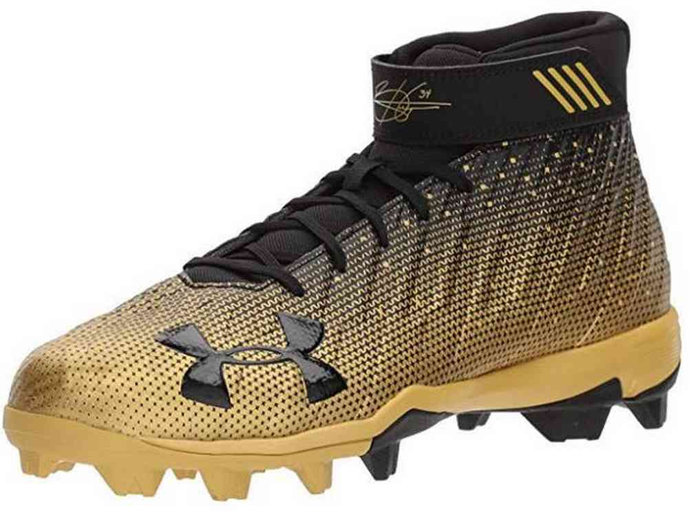 ca98c22df43 Under Armour Men s Harper 2 RM Bryce Harper Baseball Shoe Cleat Black Gold  6.5