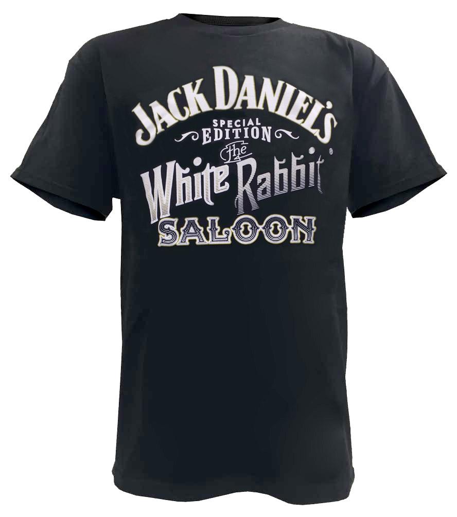 jack daniels men 39 s white rabbit logo short sleeve t shirt black 15261457jd 89 ebay. Black Bedroom Furniture Sets. Home Design Ideas