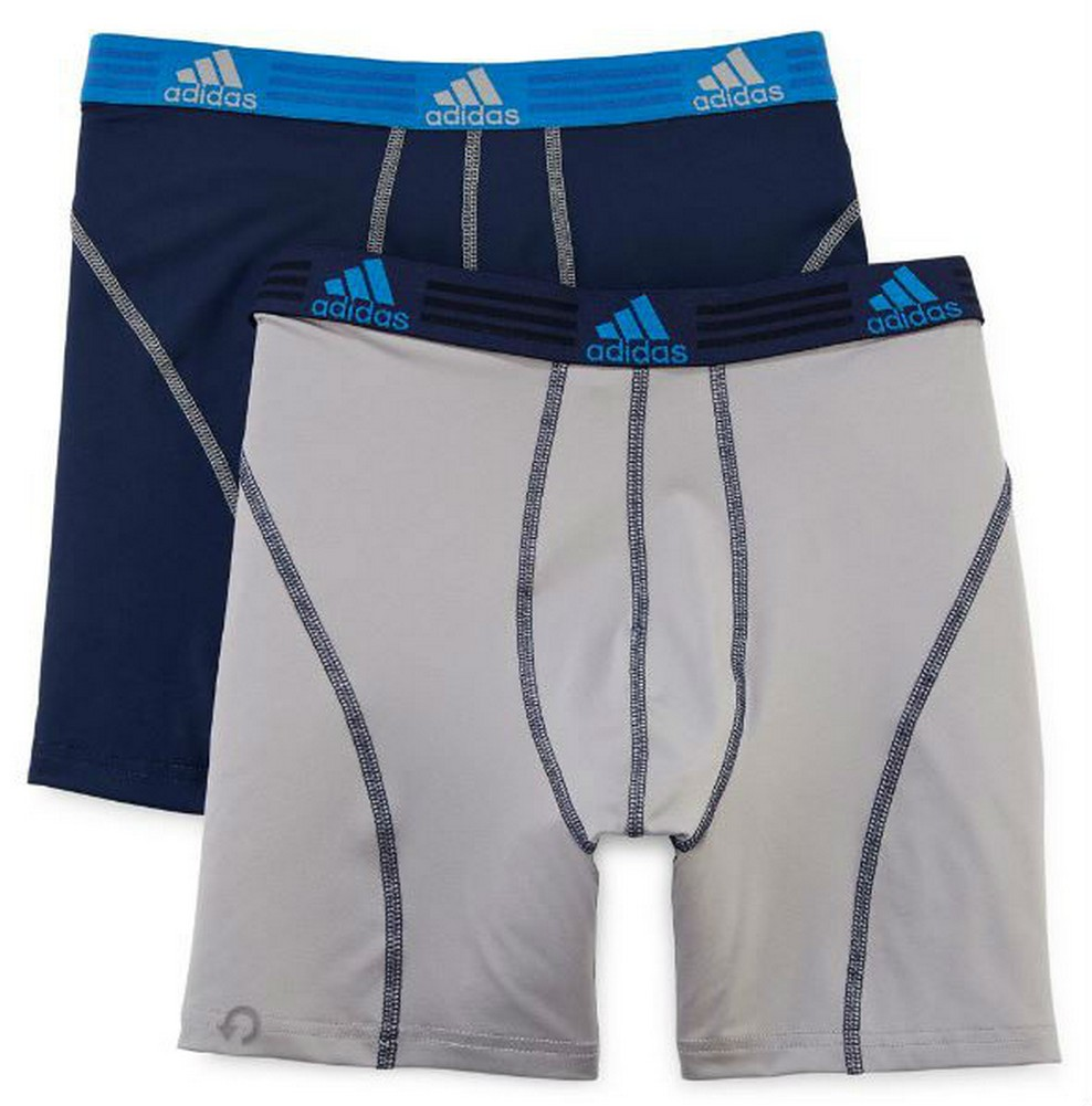 Details about Adidas Mens Sport Performance Boxer Briefs Climalite (2 Pack) NavyGray 5138390