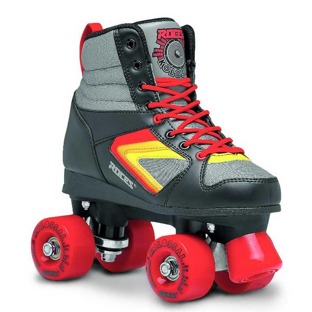 Roller skates buy nz - Roces Unisex Kolossal Fitness Quad Skates Roller Skate Black Gray Red 550041