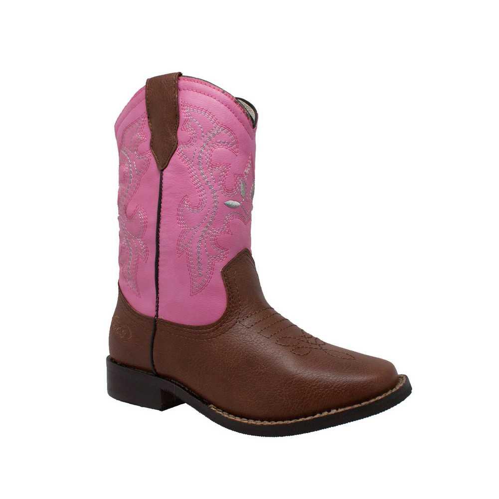 "6585 Pink//Brown AdTec Tecs Girls/'s Children/'s 8/"" Western Pull On Cowboy Boot"