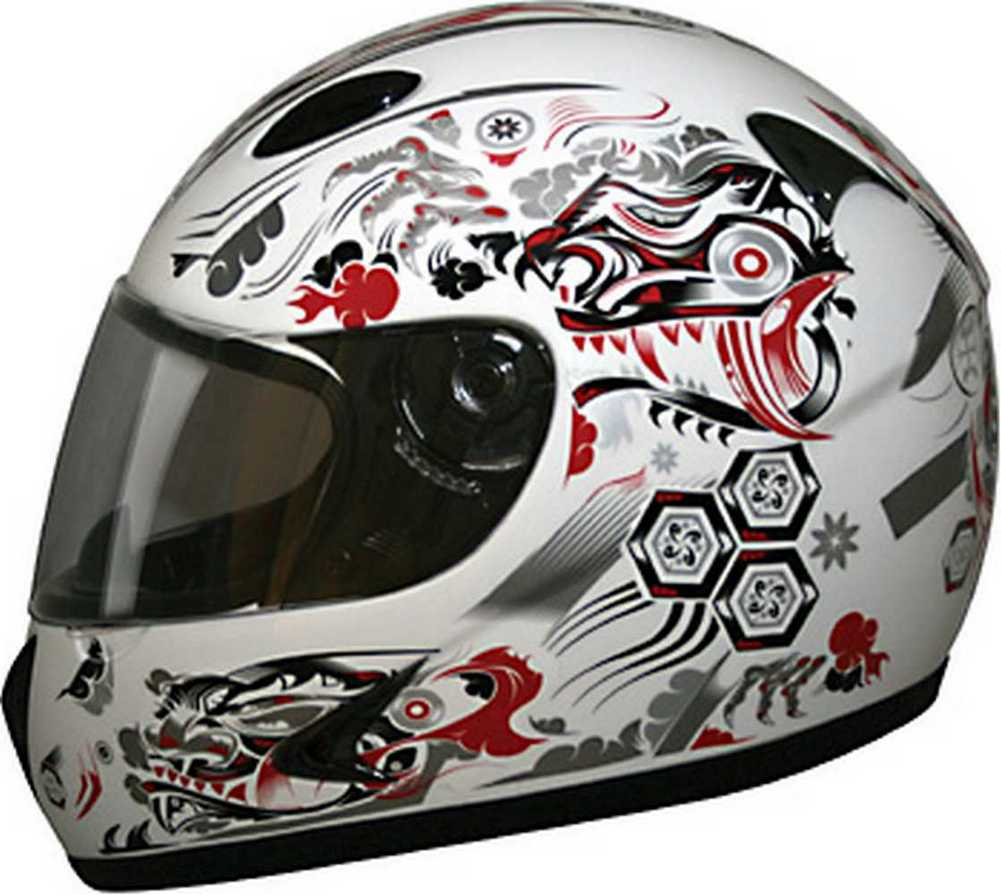 HCI Gloss Black Full Face Motorcycle Helmet Fully-Vented ABS Shell 75-751