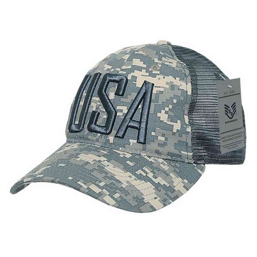 8836792f5 Details about Rapid Dominance Ripstop Mens Embroidered USA Trucker Cap Hat  (Camo Digital)