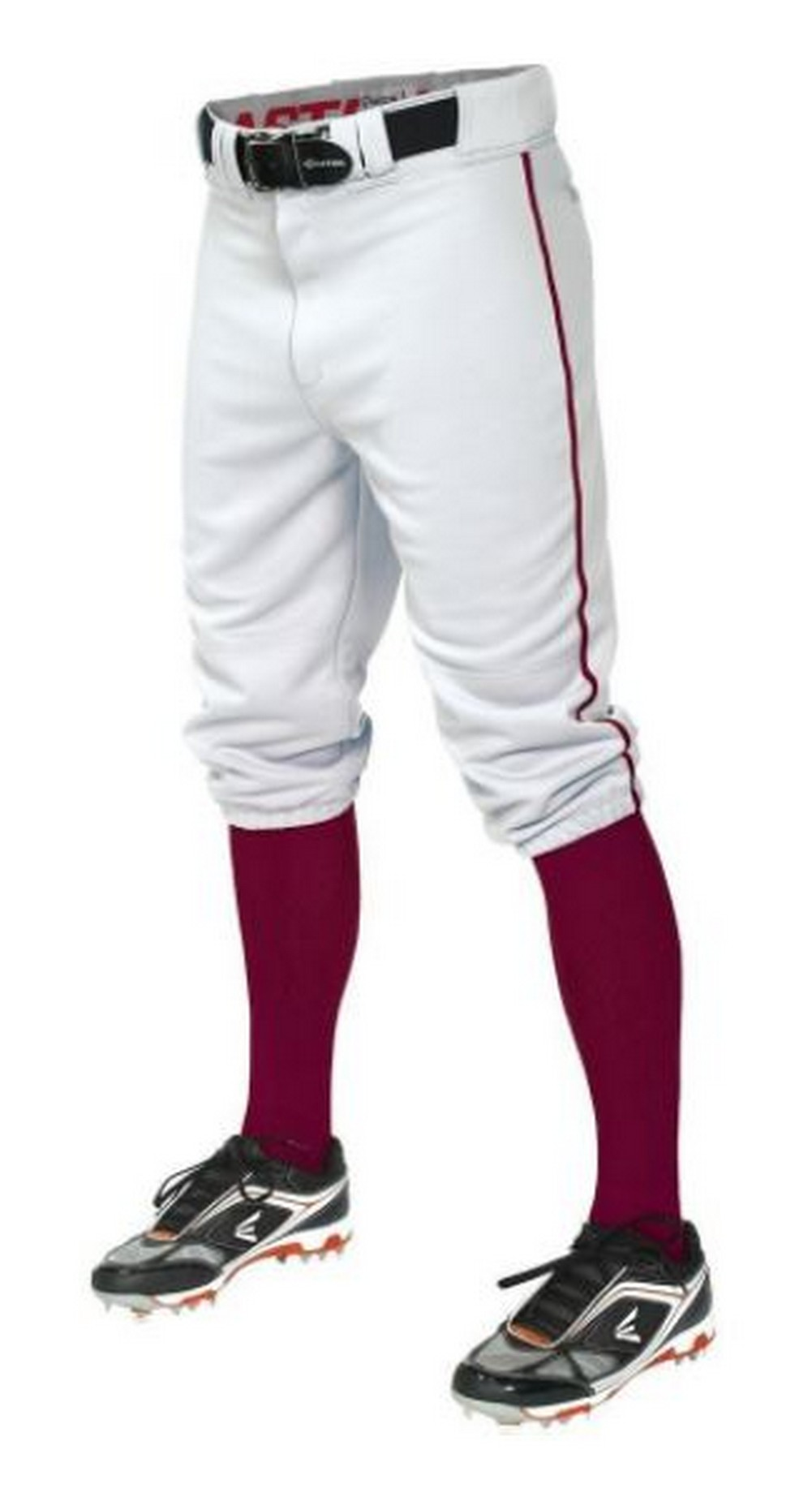 Easton Pro + Knicker Piped Baseball Pants - Men's Baseball - White/Maroon 16710502