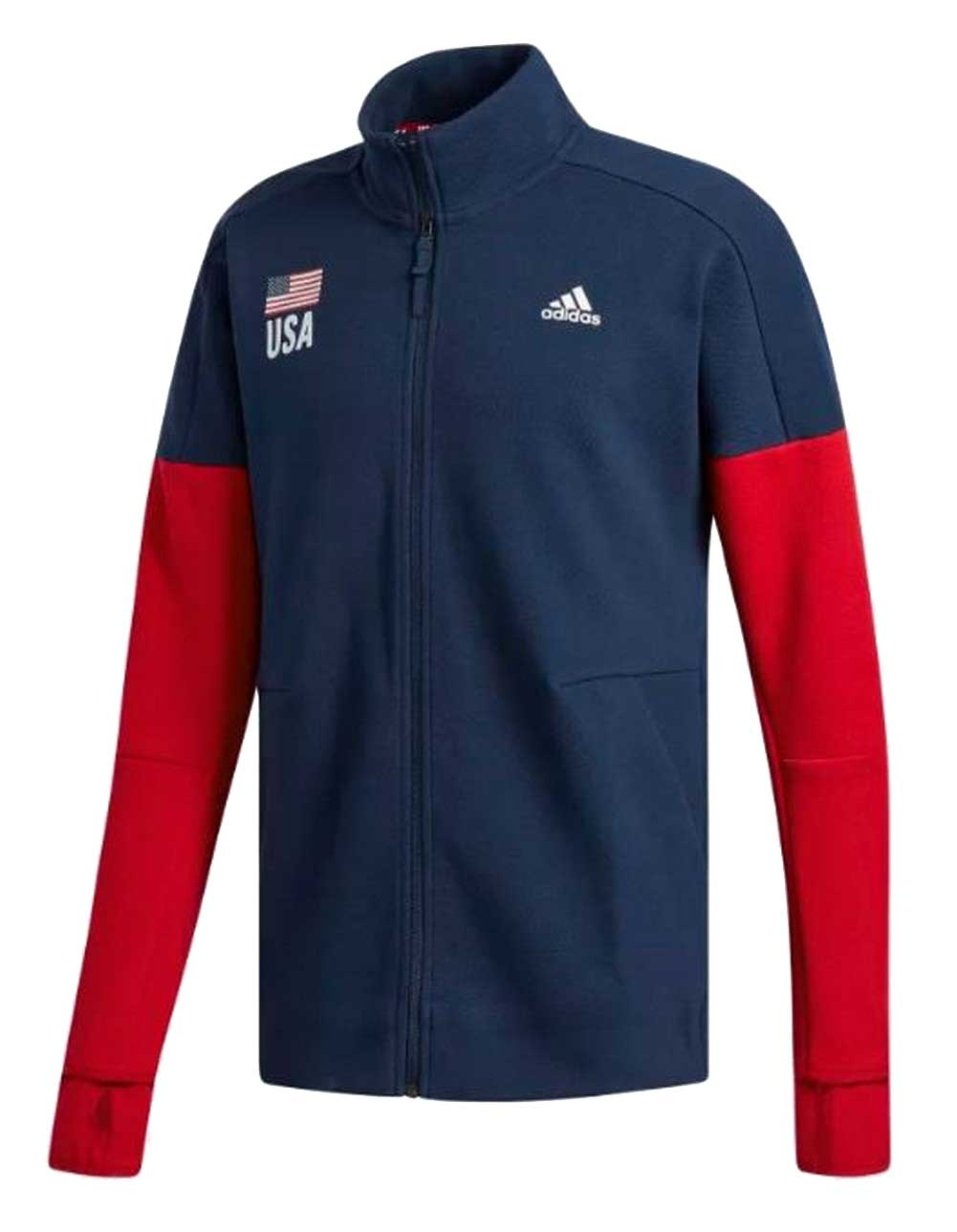 Details about Adidas Men's USA Flag Volleyball Warm up Jacket Coat Sweatshirt NavyRed CF1599