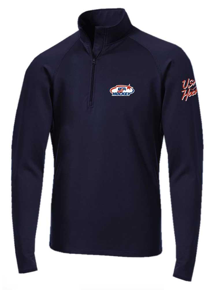 USA Hockey Mens Zip Gravity Performance Fleece Jacket Athletic Sweatshirt Gray