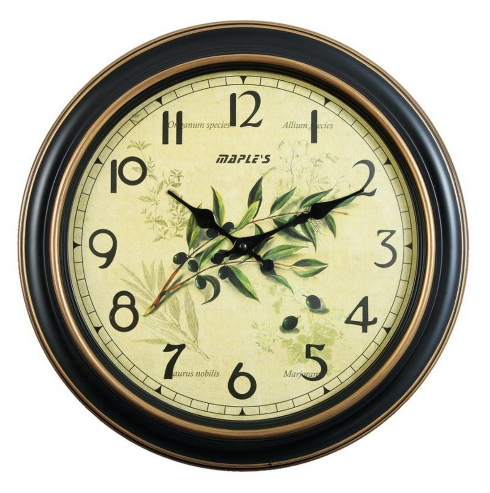 Maples Traditional Tuscan Grape Branch Plastic Wall Clock 14.5 ...