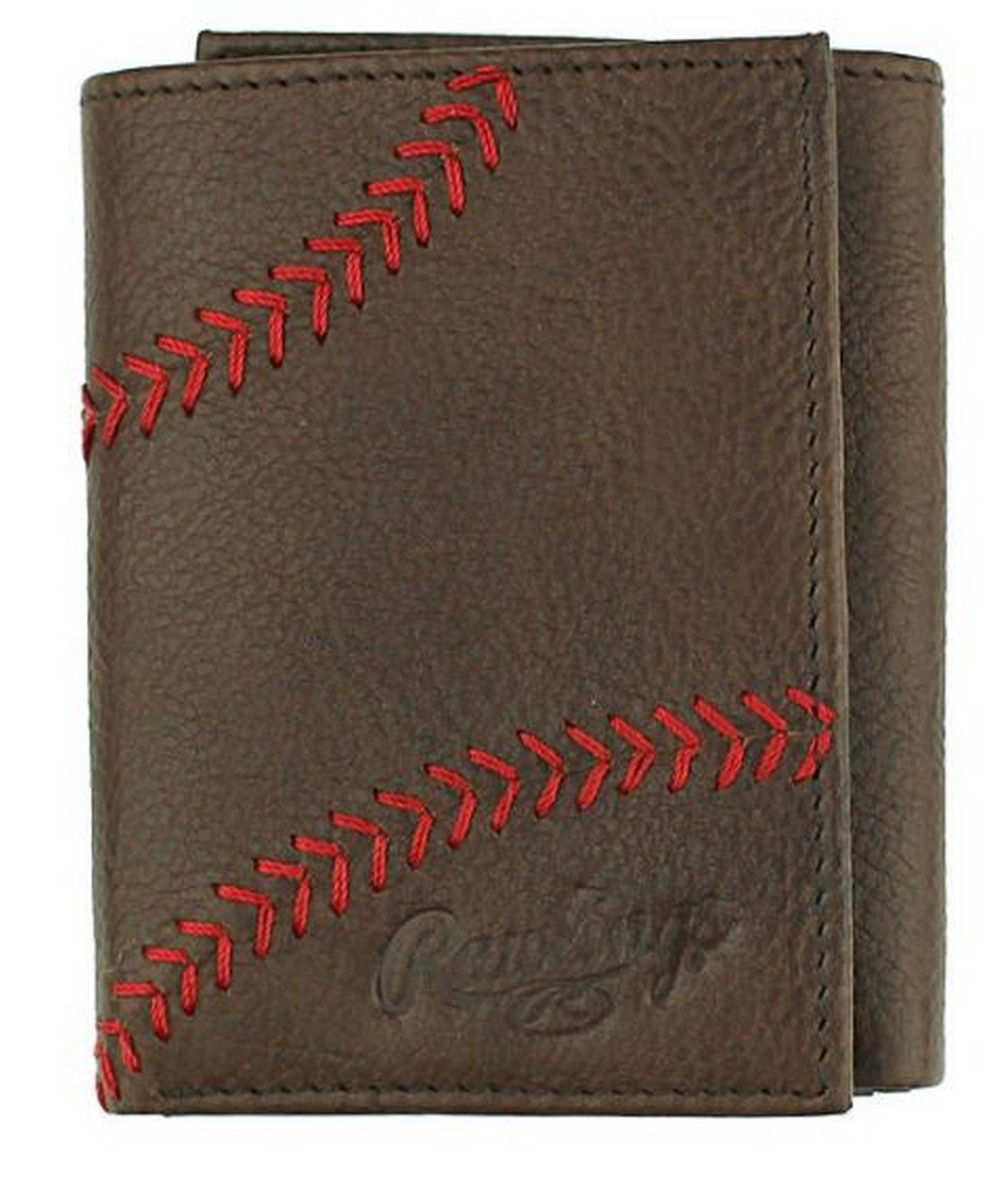 d5d9926c6165 Details about Rawlings Baseball Tri-Fold Wallet Credit Card Home Run Stitch  Leather RLG801-200