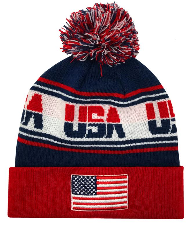Zephyr Hats USA Finish Line USA Flag Knit Beanie Cap Hats w// Pom Ski Winter Hat