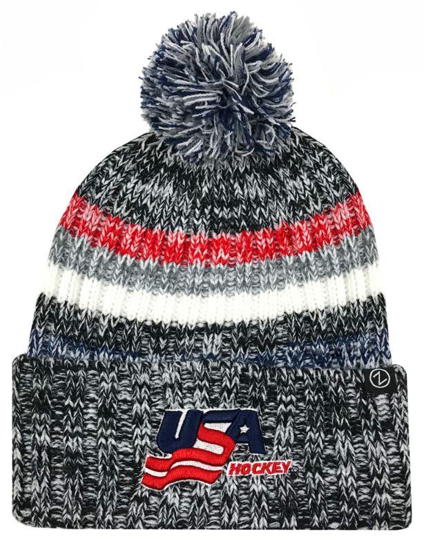 8928a6715 Details about Zephyr Hats USA Hockey Gradient Knit Beanie Cap Hats w/ Pom  Ski Winter Hat