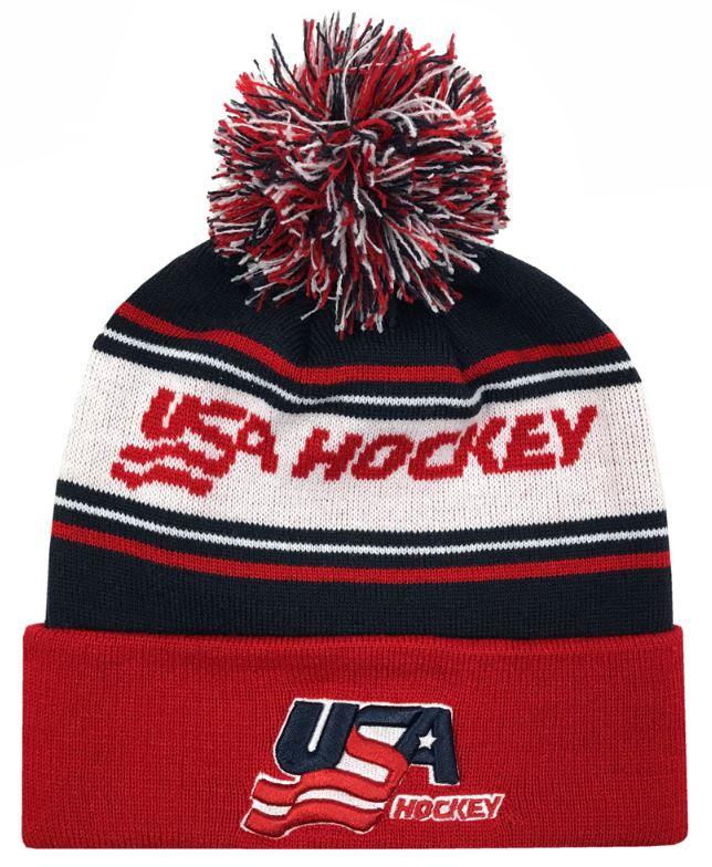 Details about Zephyr Hats USA Hockey Finish Line Knit Beanie Cap Hats w   Pom Ski Winter Hat 10f96996cd3