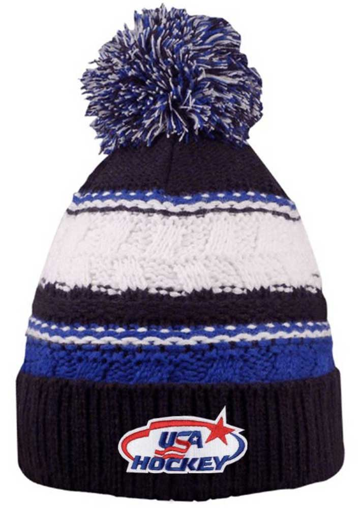 8a2d51c0546 USA Hockey Blue Striped Beanie Cap Stocking Knit Hat Winter Sports Ski w   Pom