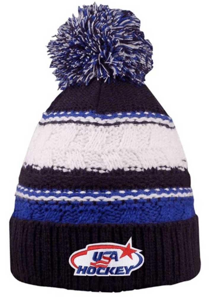 ee6009a0e9f USA Hockey Blue Striped Beanie Cap Stocking Knit Hat Winter Sports Ski w   Pom