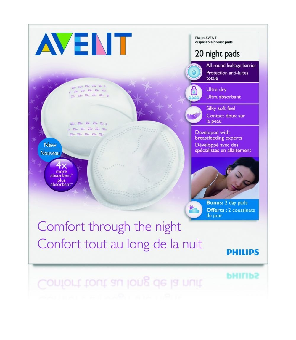 PHILIPS AVENT 20 DISPOSABLE BREAST PADS FOR NIGHT USE ULTRA ABSORBANT COMFORT