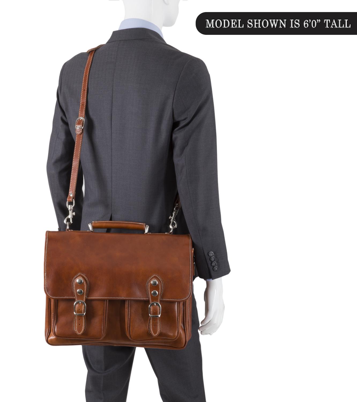 1770abb799d0 Alberto Bellucci Italian Leather Parma Express Messenger Satchel Bag ...