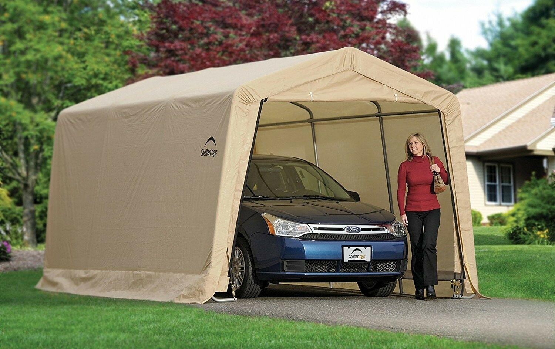 ShelterLogic-AutoShelter-10-x-15-x-8-ft-Instant-Garage-Tan-10x15 thumbnail 2