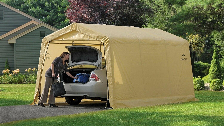 ShelterLogic-AutoShelter-10-x-15-x-8-ft-Instant-Garage-Tan-10x15 thumbnail 5