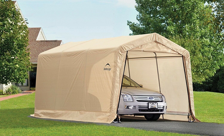 ShelterLogic-AutoShelter-10-x-15-x-8-ft-Instant-Garage-Tan-10x15 thumbnail 3