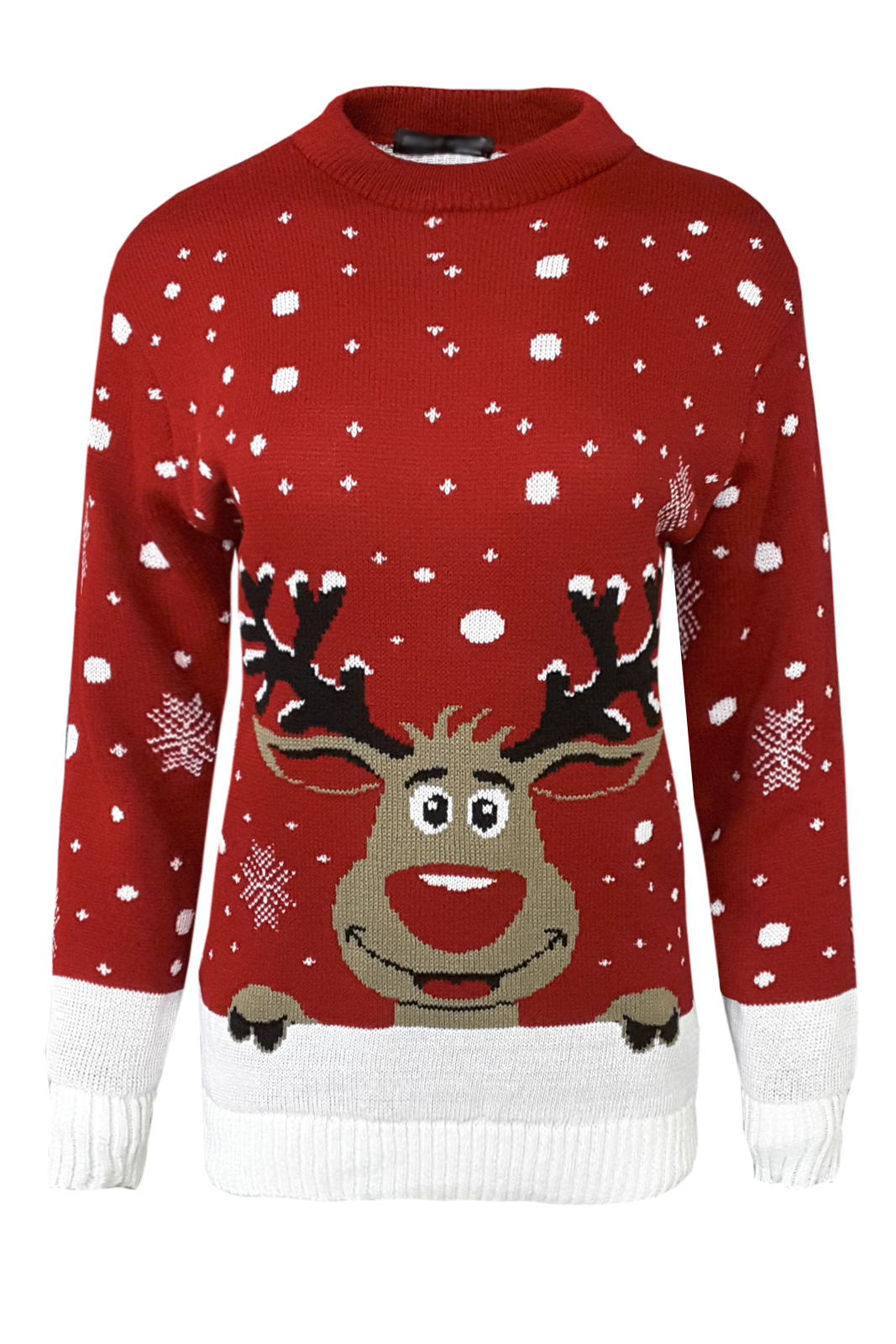 Christmas Novelty Jumper Knitting Patterns : New ladies christmas print extra thick knitted sweater
