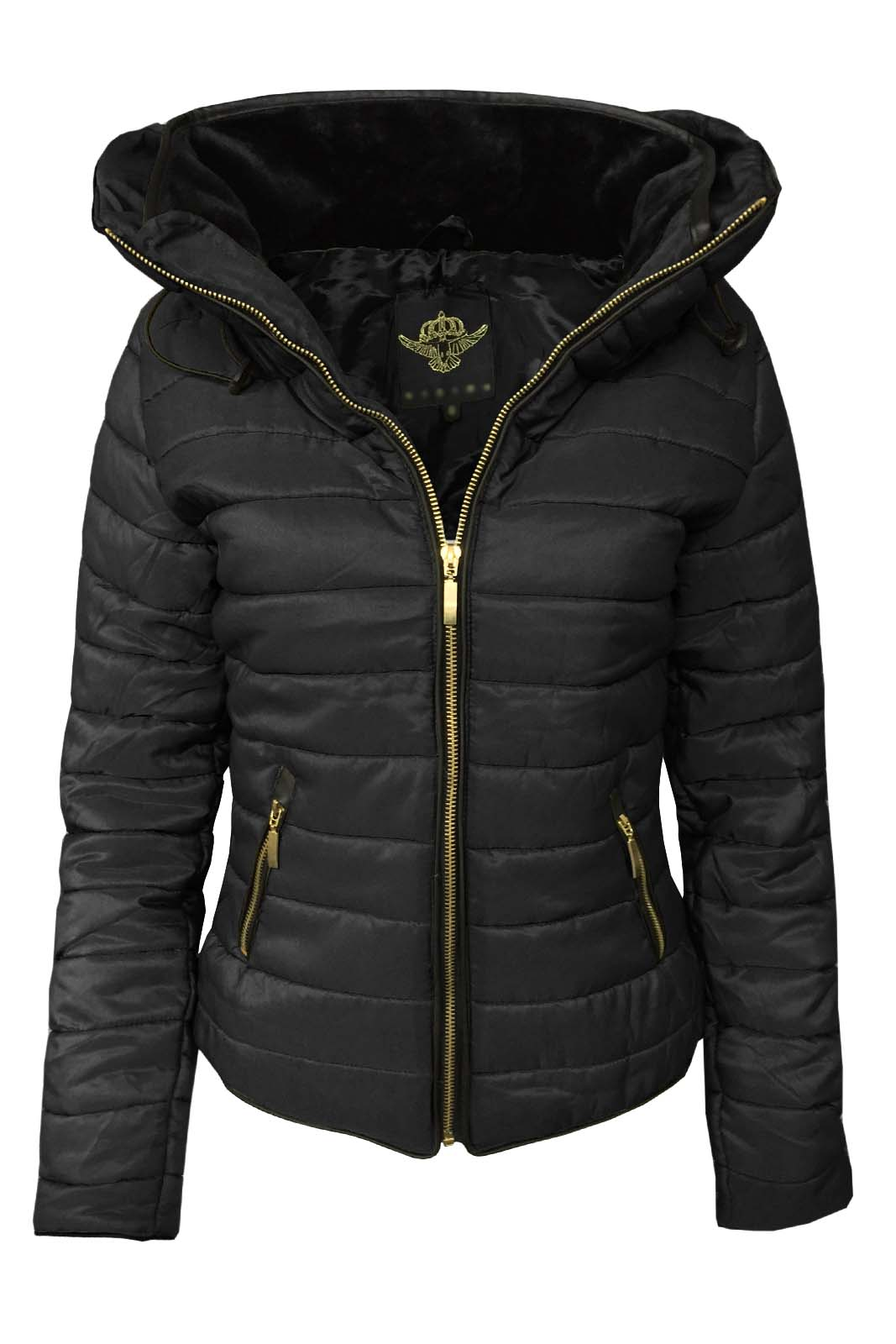 Fab Style Womens Puffer Bomber Jacket Quilted Padded Zip