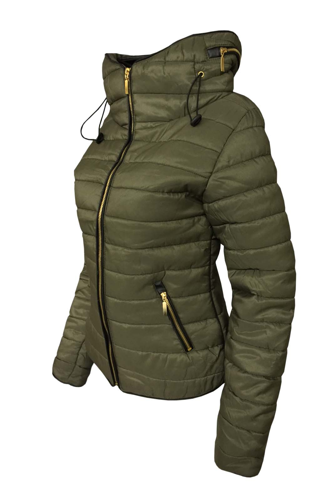 002d7d9ef543 New Ladies Padded Quilted Bomber Jacket Womens Puffer Full Sleeve ...