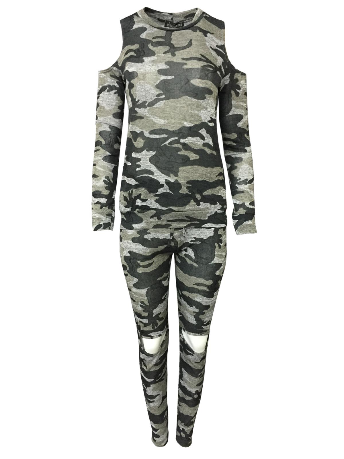 femme co ord militaire ajust e imprim camouflage jogging costume set femmes surv tement ebay. Black Bedroom Furniture Sets. Home Design Ideas
