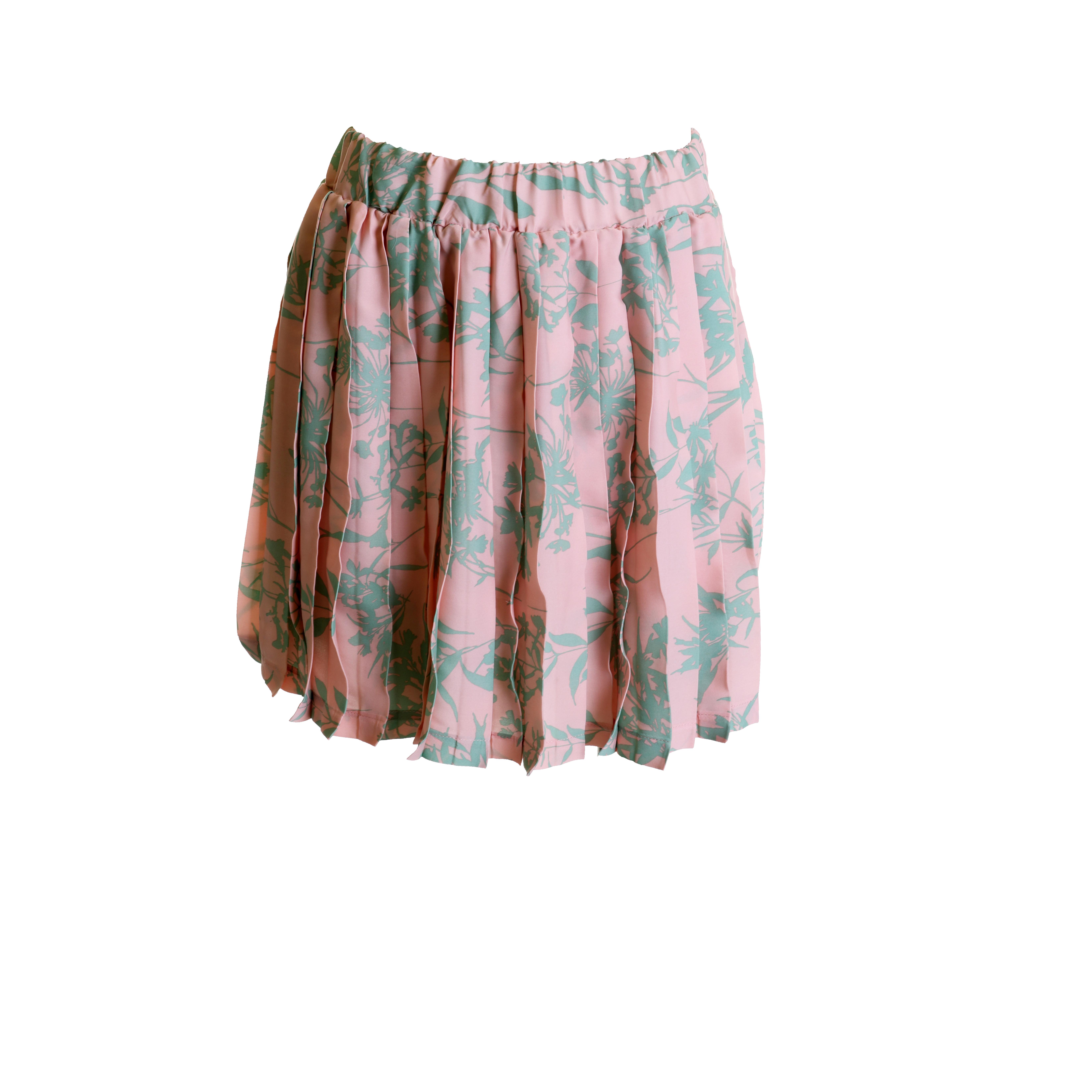 Deby Debo Pink-Green Garden Pleated Skirt