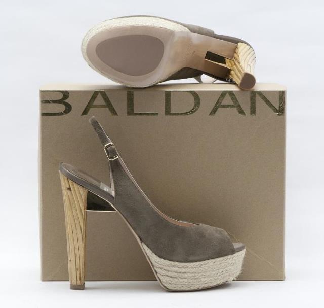 Baldan Suede Slingback Leder Open Toe Platform Slingback Suede W/Rope & Bamboo Wedge 6a2f4e