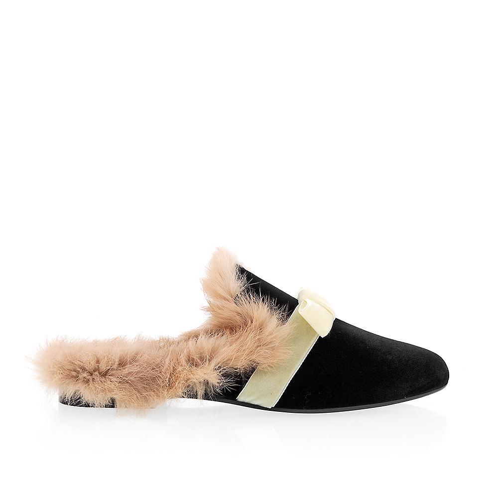 Amanda Gregory Velvet Niedrig Heel Heel Niedrig Slide With Bow e3a8ef