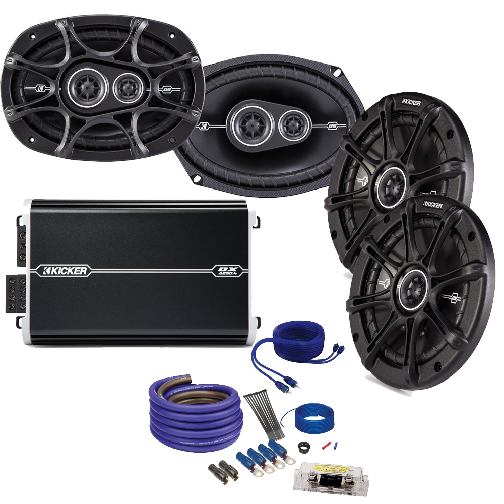 "Kicker DS 6x9 and 6.5"" Speaker package with Kicker DXA 250 watt 4-channel  amp, and amplifier wiring kit"