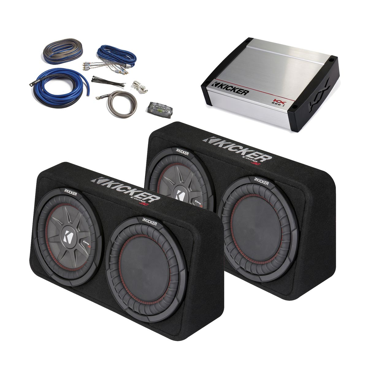 Kicker 43tcwrt104 10 Subs W Radiators Kx 800 Watt Amp 4 Awg Cvr 15 Inch Subwoofer In Box Addition 12 Wiring Bass Package Two Thin Loaded Amplifier Kit