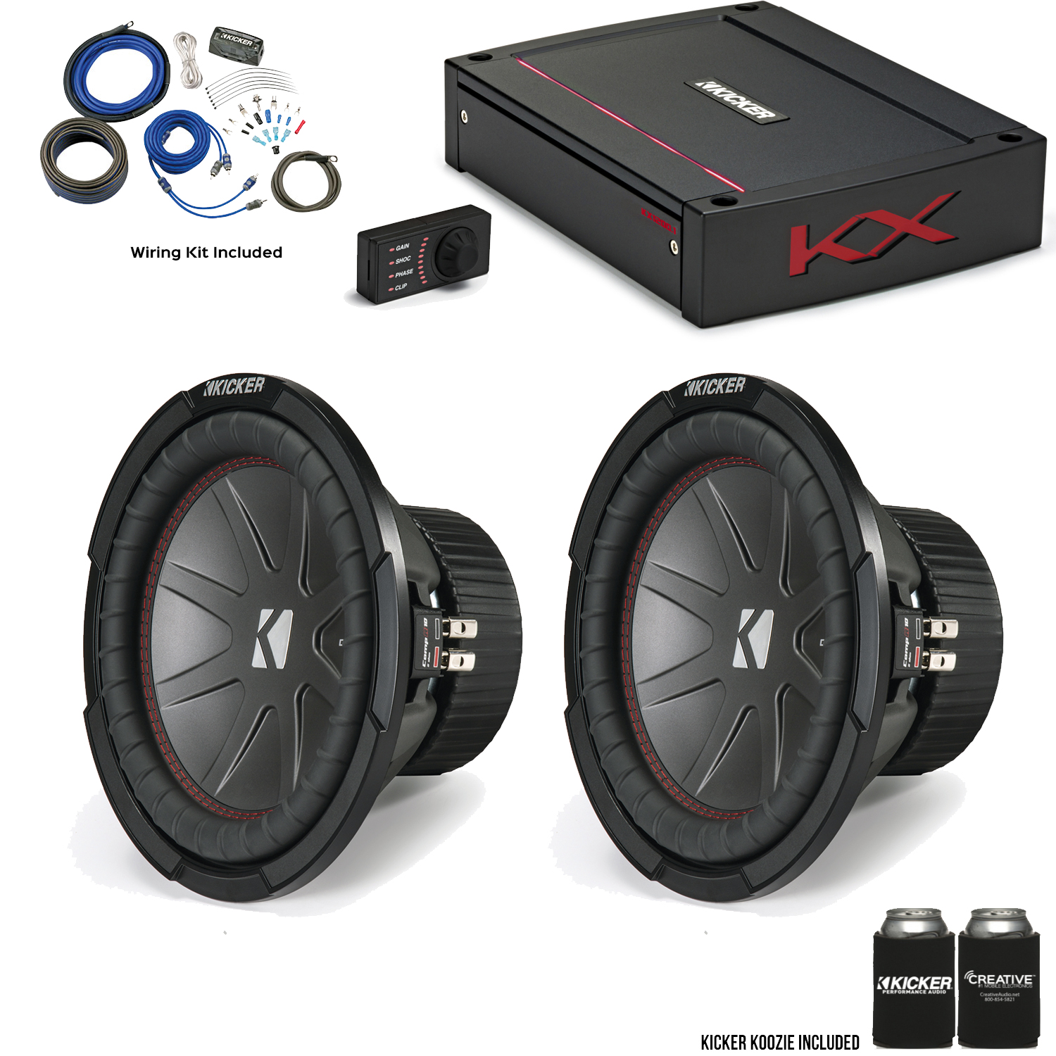 Kicker 43cwr102 10 Compr Subs With 44kxa12001 Kx Series Amplifier Wiring Kit Gauge For Speakers Subwoofers Automotive And Wire