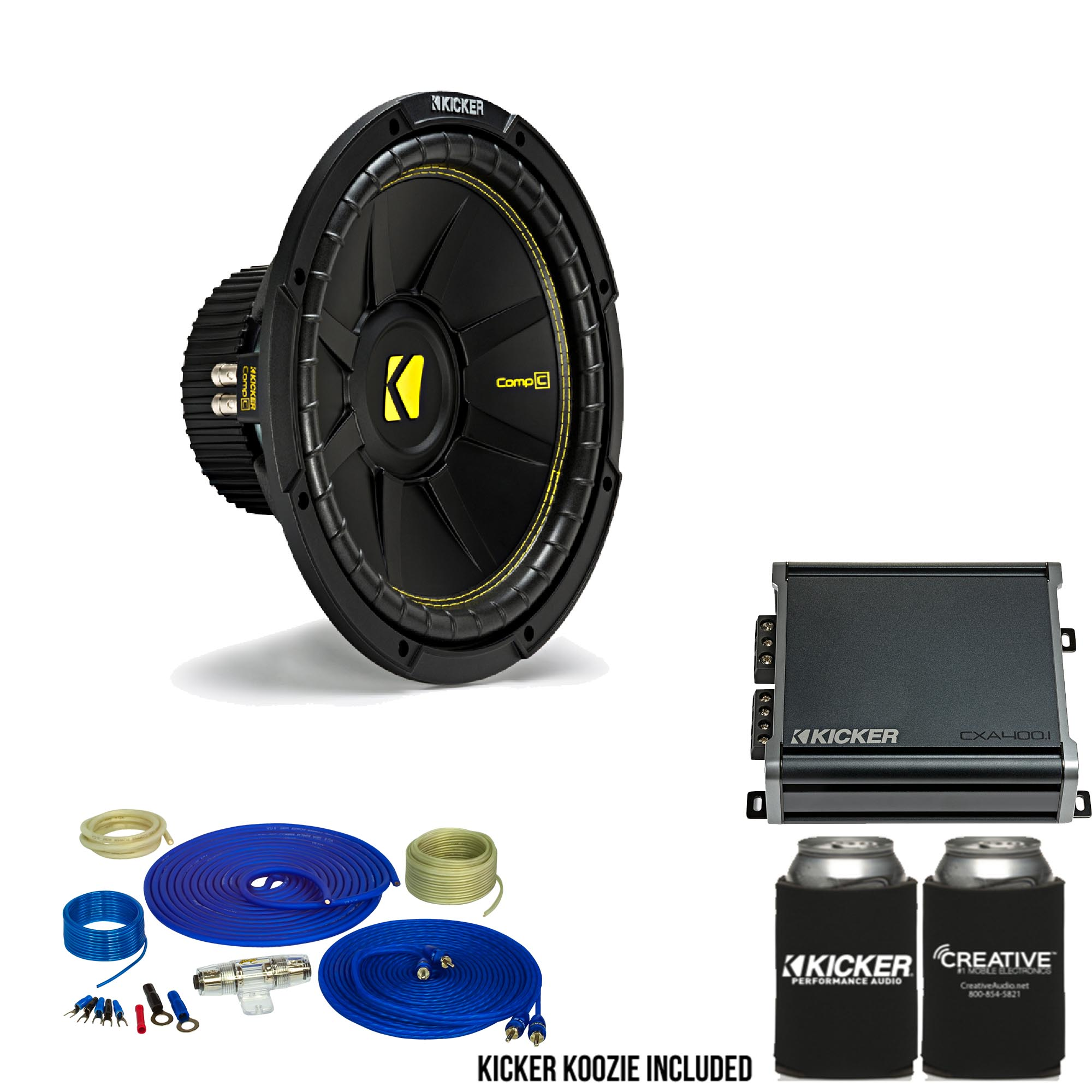 Details about Kicker 12 Inch B Bundle - A 44CWCD124 Subwoofer with on rockford fosgate wiring kit, jl audio wiring kit, kicker amp with 8, 0 gauge amp kit,